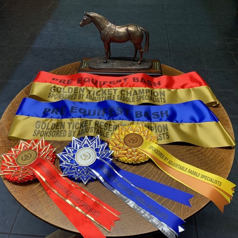 trophy and rosettes from Golden ticket show